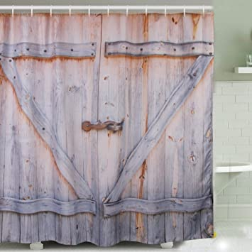 Country Rustic Barn Wood Shower Curtain Old Wooden Garage Door Polyester Fabric Shower Curtain with 12pcs & Country Rustic Barn Wood Shower Curtain Old Wooden Garage Door ... pezcame.com