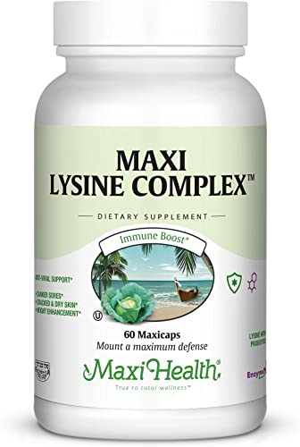 Maxi Health Lysine Complex – with Probiotics – 1000 mg – Anti-Viral Support – 60 Capsules – Kosher