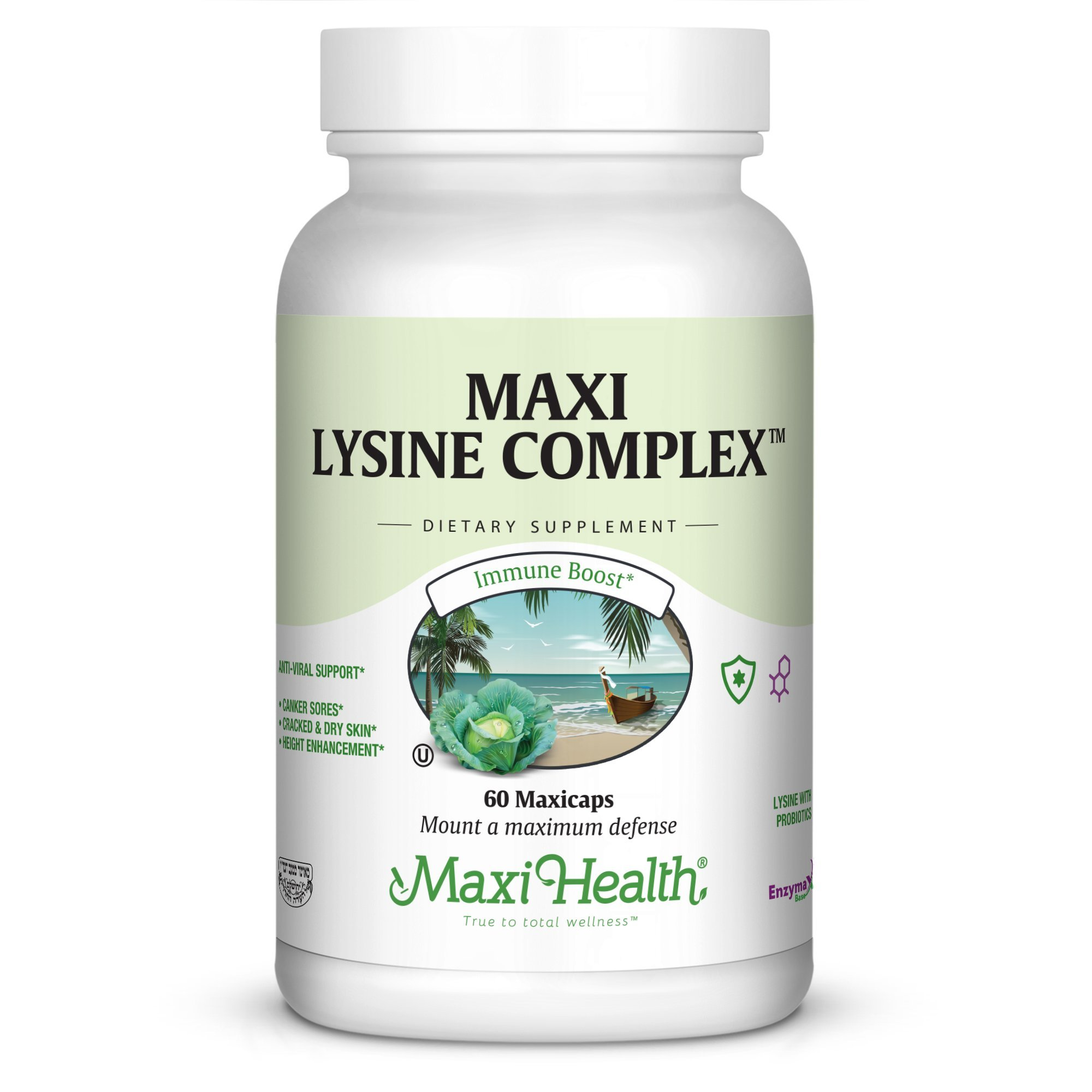 Maxi Health Lysine Complex - with Probiotics -''1000 mg'' - Anti-Viral Support - 60 Capsules - Kosher