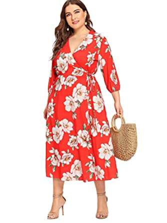Milumia Plus Size Floral Wrap Maxi Evening Dress Night Out Empire Waist 3 4  Sleeves Dress Red 0X