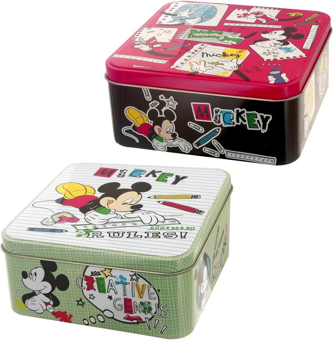 Disney-Juego De 2 cajas De almacenaje, diseño De Disney Mickey Mouse retro De metal, diseño De asuntos enfadado: Amazon.es: Hogar