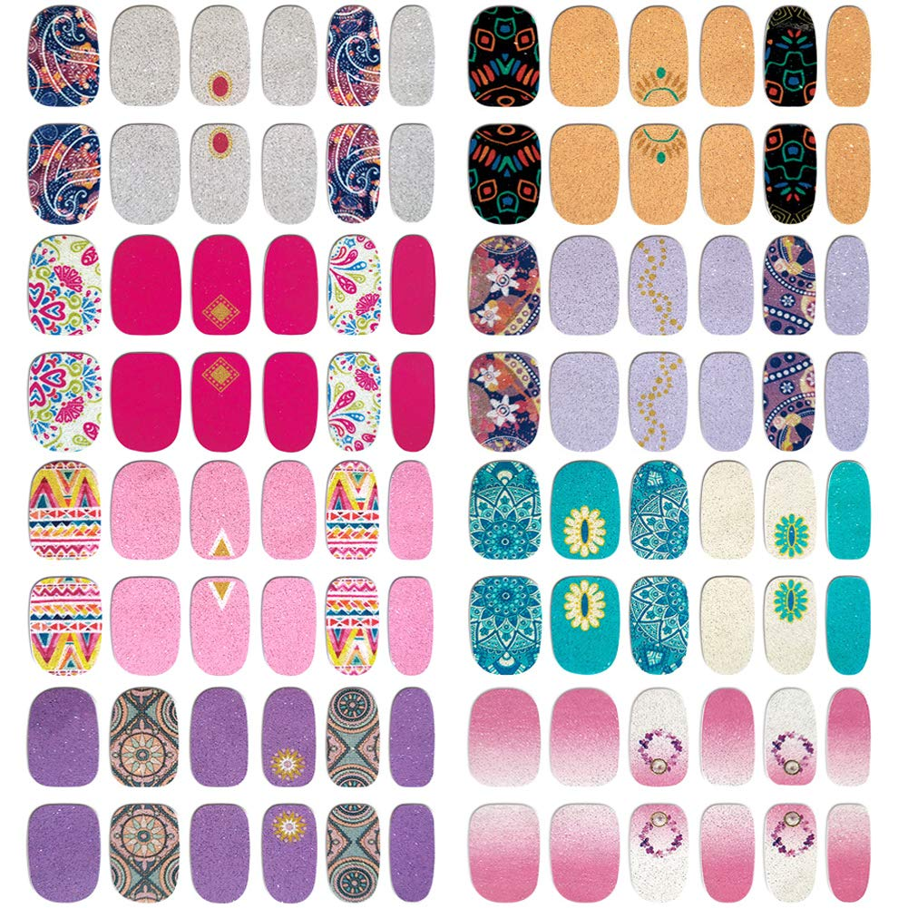 Comdoit Nail Wraps for Women Nail Polish Strips 8 Sheets Color Glitter Full Nail Stickers Self Adhesive Nail Decals Design Fingernail Decorations Nail Art Supplies Manicure Tips Acrylic DIY Decor by Comdoit