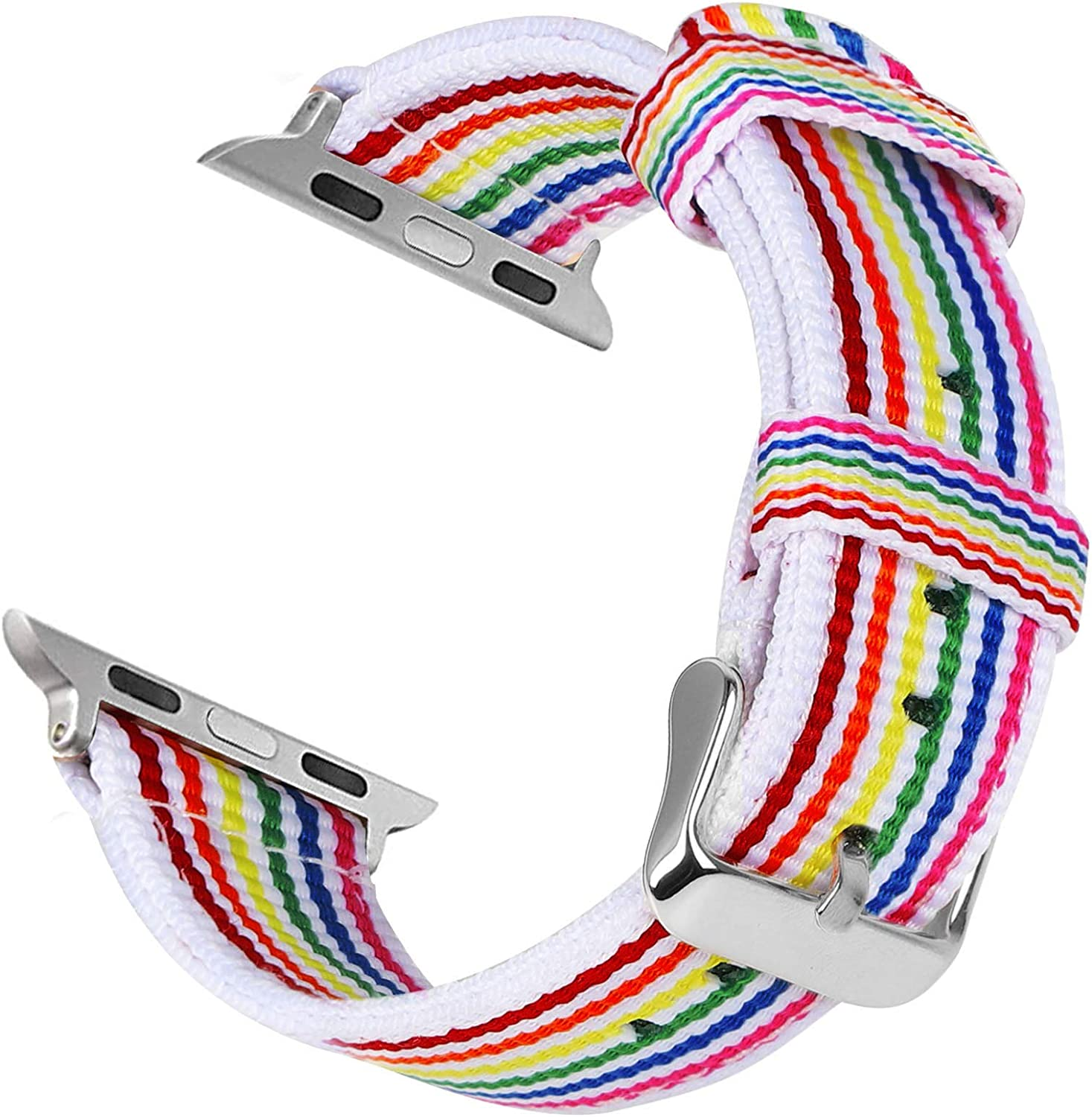 KAYSEUN Rainbow Watch Bands Compatible with Apple Watch SE 44mm 40mm Series 6/5/4,Sturdy Colorful Canvas Apple Watch Band 42mm 38mm for Mens/Womens