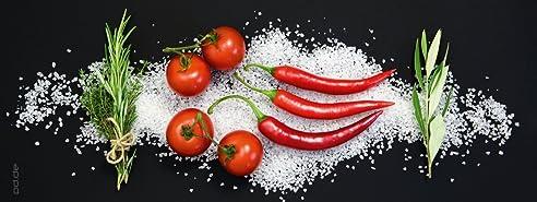 Glasbild Italienische Küche - Tomaten und Peperoni - Größe 30 x 80 ...
