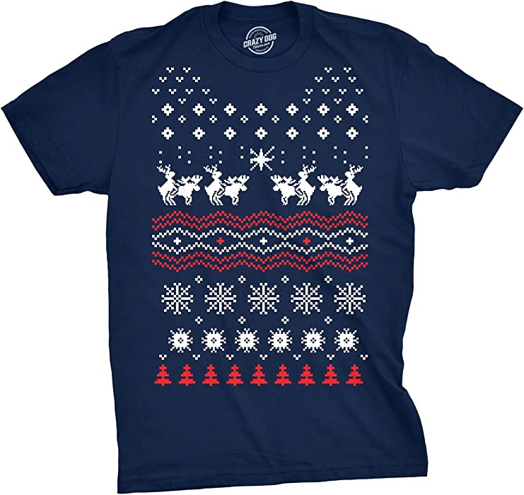 f4b5f1088 Humping Moose Holiday Sweater T Shirt Funny Ugly Christmas Sweater Shirt,  Small, Blue
