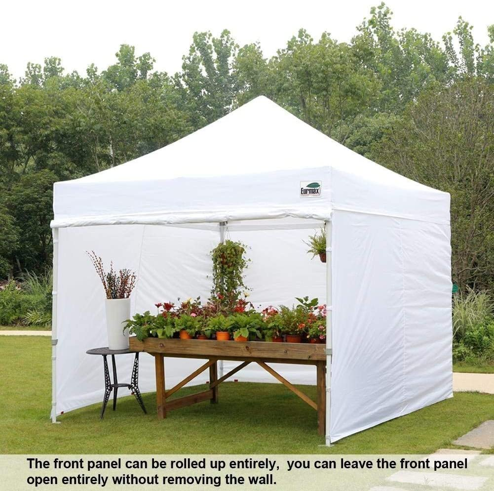 Purple Eurmax 10x10 Ez Pop-up Canopy Tent Commercial Instant Canopies with 4 Removable Zipper End Side Walls and Roller Bag Bonus 4 SandBags