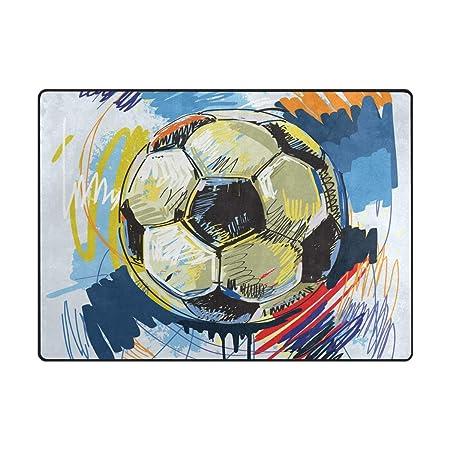 Mnsruu - Alfombra de Gran área (203 x 147 cm), diseño de balón de ...