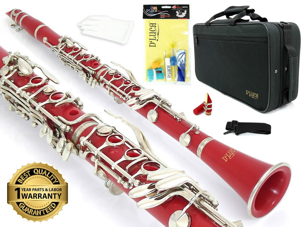 D'Luca 200WH 200 Series ABS 17 Keys Bb Clarinet with Double Barrel, Canvas Case, Cleaning Kit, White D' Luca