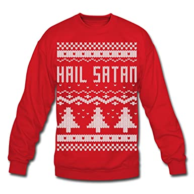 Satanic Christmas Sweater.Spreadshirt Hail Satan Ugly Christmas Sweater Crewneck Sweatshirt