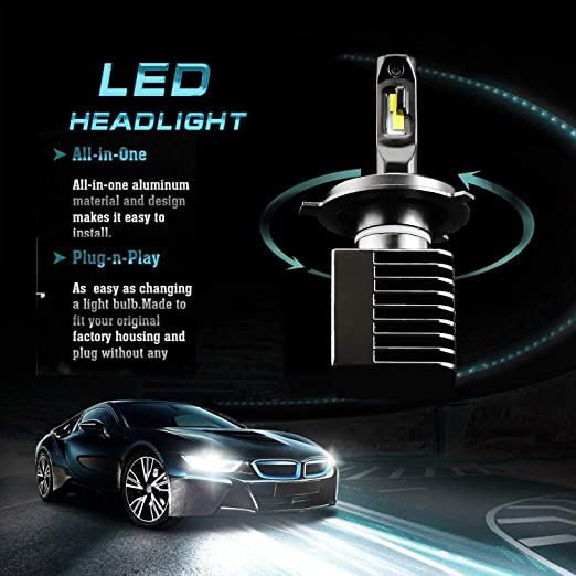 Amazon.com: JDM ASTAR Newest Version T2 12000 Lumens Extremely Bright High Power H4 9003 All-in-One LED Headlight Bulbs Conversion Kit, Xenon White: ...