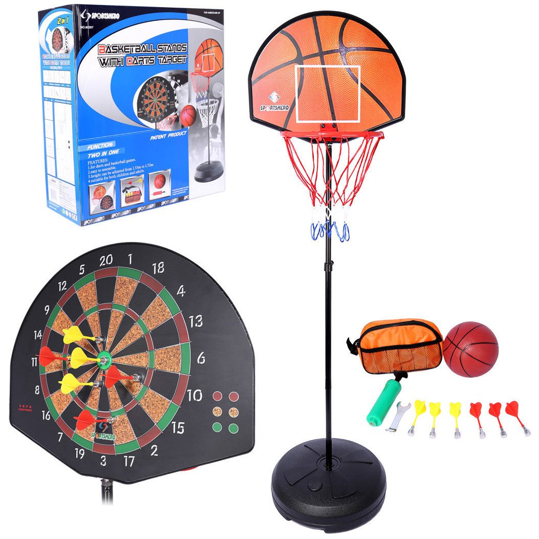 2 IN 1 BASKETBALL DART BOARD SET HOOP NET ADJUSTABLE STAND GAME BALL KIDS DARTS NT