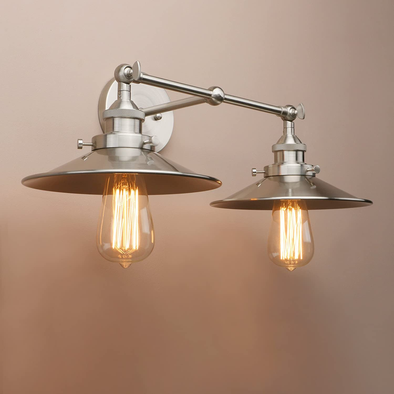 Pathson Industrial Wall Sconce With Vintage Style 2 Light Bathroom