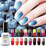 Fairy Glo (Pick Any 3 Colors ) Gel Nail Polish Soak Off Thermal Temperature Changing Colour UV LED Maniure Gift Set Nail Lacquer Art Kit