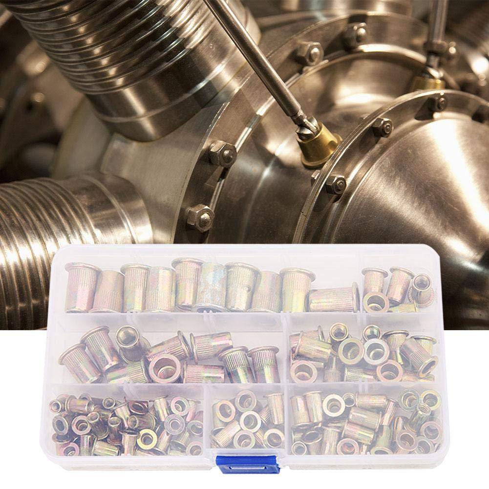 120 Pcs Flat Head Rivet Nut Zinc Plated Flat Head Threaded Fastener Nuts M4 M5 M6 M8 M10 Rivet Nuts Kit