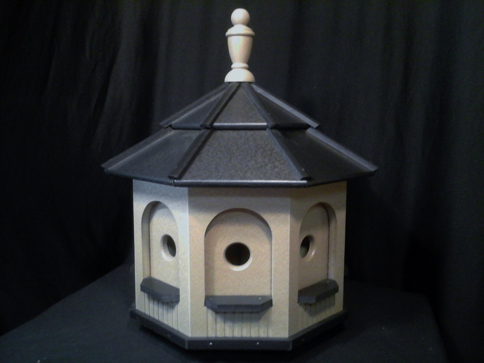 Large Poly Handcrafted Handmade Homemade Birdhouse Garden Clay & Black Roof