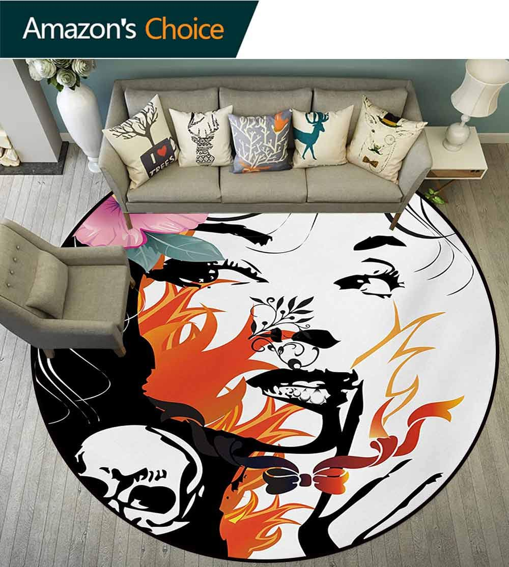 Tattoo Non-Slip Area Rug Pad Round,Attractive Women With Pink Flower In Her Hair Near A Skull Design Protect Floors While Securing Rug Making Vacuuming,Diameter-71 Inch Orange Pink Black And White by RUGSMAT (Image #1)