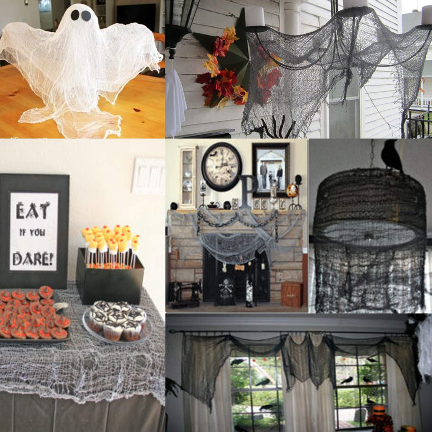 Gray ziyue 5.5 Yards X 40 Include Hanging Outdoor Indoor Scary Creepy Halloween Office Party Door Window Giant Spider Wall Yard Table car Lawn Cloth Decorations Cheesecloth Fabric