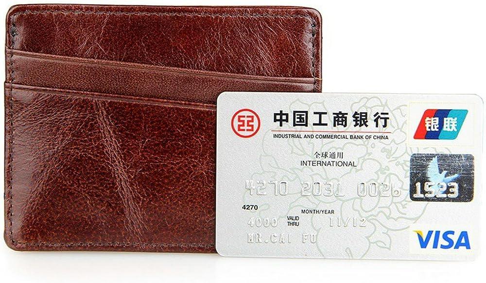 BILLETERA Slim Leather Front Pocket Credit Card Holder Wallet