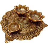 Trendy Crafts™ Traditional Decorative Pooja Thali with Two vatis and Diya for All Auspicious Occasions