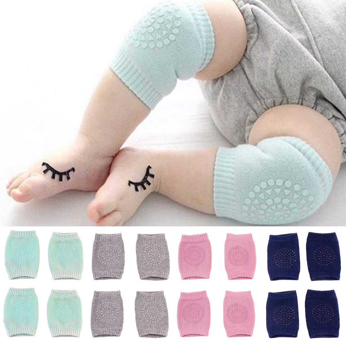 puseky 1 Pair Baby Boy Girl Non-Slip Knee Pads Support Safety Soft Knee Wrap for Crawling Walking