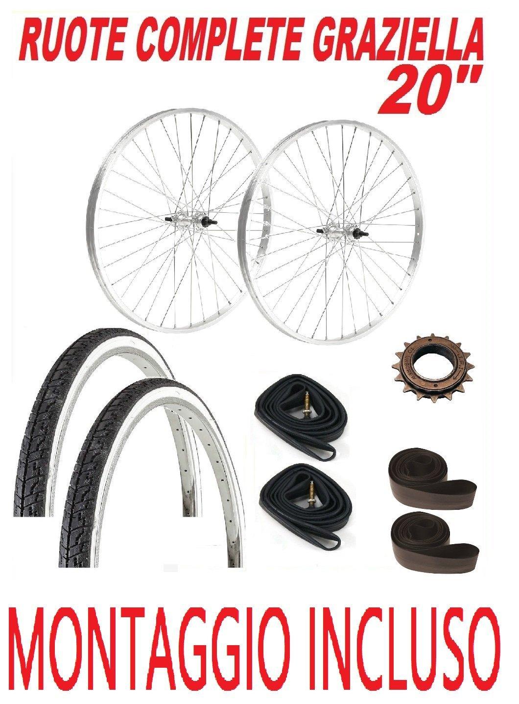 CicloSportMarket & 039;Montage inklusive – Paar Räder Fahrrad Graziella 20 + Ritzel 16 Zähne + Reifen + Kammern + Flap-Speichen