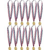 Juvale - Medallas de oro para fútbol o natación, 12 unidades, medallas de metal, medallas de ganador para fútbol o natación, premios infantiles para competición deportiva, oro, 5 cm de diámetro con cinta de 81 pulgadas