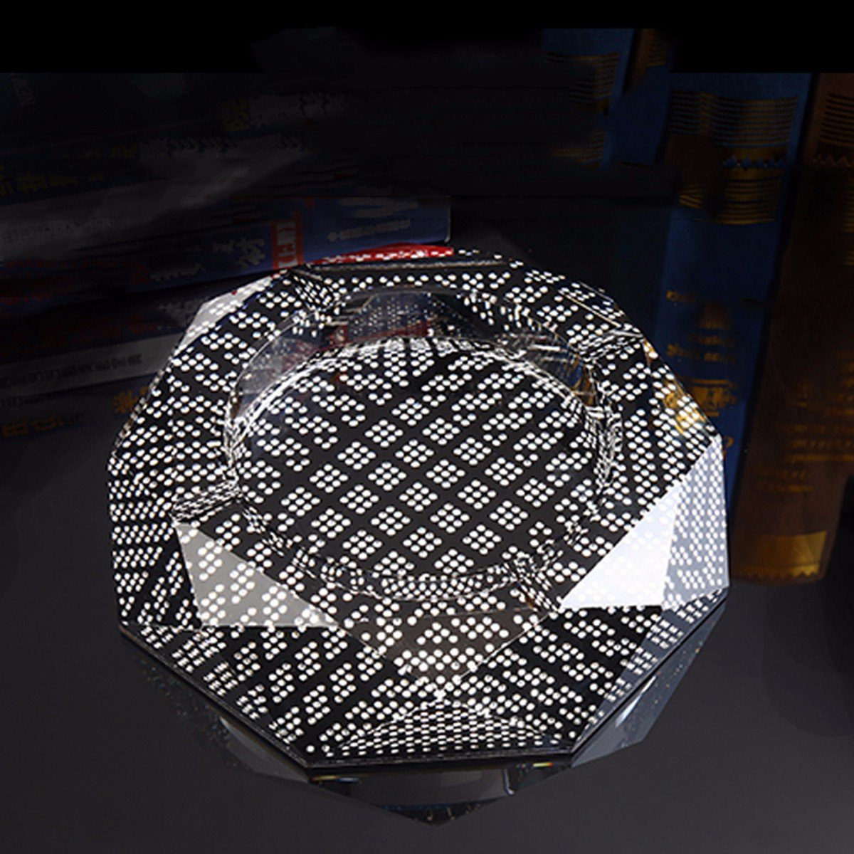 QPGGP-ashtray Home furnishing diamond crystal ashtray creative and practical European large air gift ashtray,25cm
