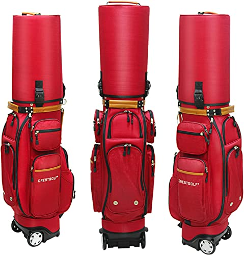 PGM Crestgolf Golf Carry Bag Wheeled Golf Travel Bag Golf Cart Bag,Coming with Customs Lock and Golf Bag Cover