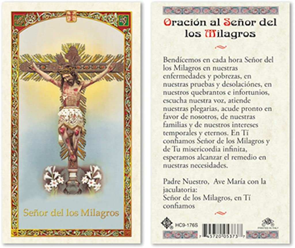 SPANISH HC SENOR MILAGROS LAMINATED PRAYER CARDS 25//PKG