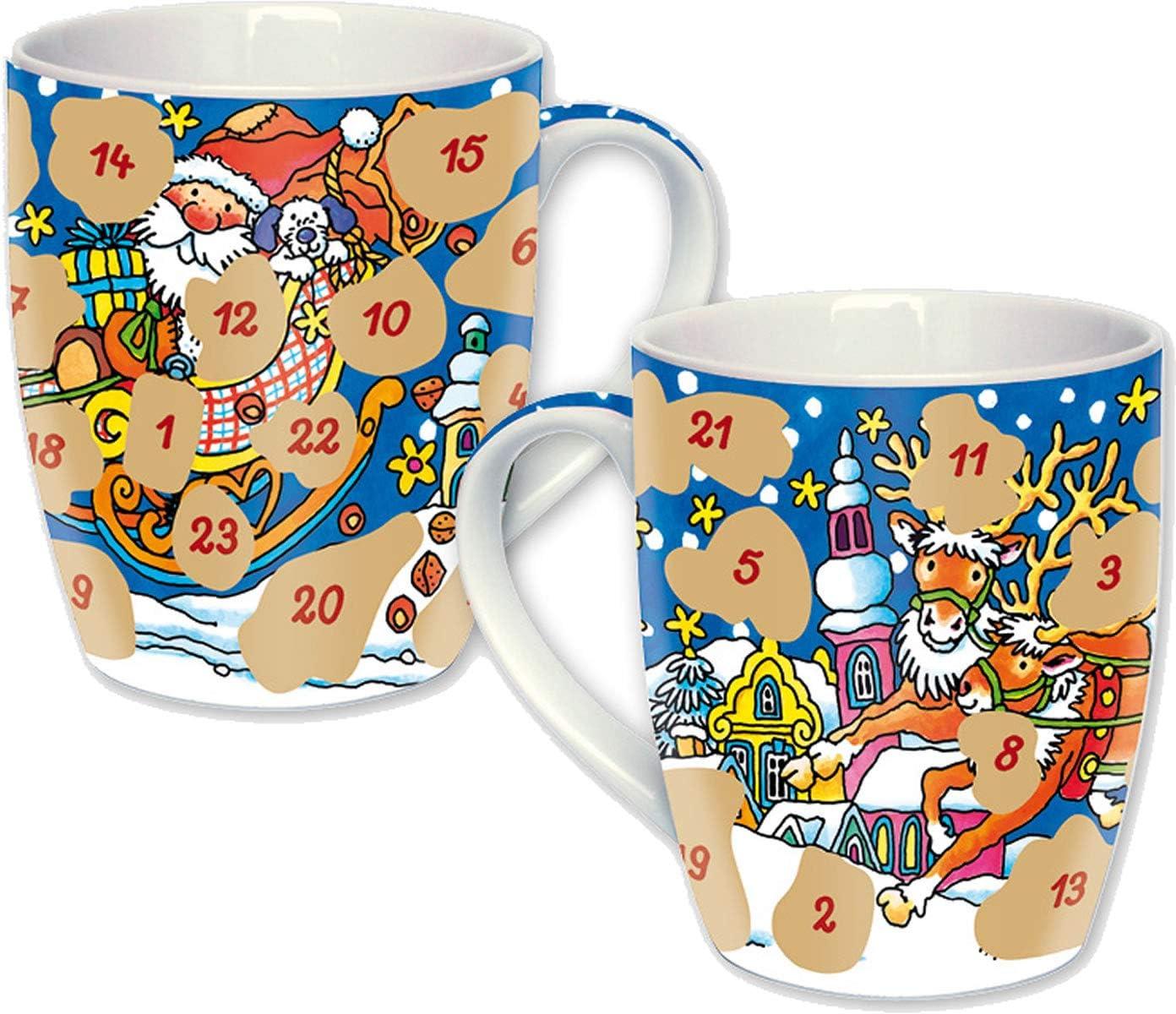 Lutz Mauder Adventskalender als Tasse mit 24 Fl/ächen Zum Freirubbeln Version 2019 Geschenk Advent Weihnachten Kalender /Überraschung