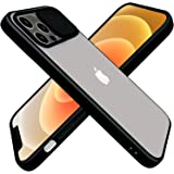 CloudValley Compatible with iPhone 12/12 Pro Case with Camera Cover, Lens Protector, Matte Black Bumpers, PC Slider & Soft TP