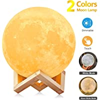 AGM Moon Lamp, 3D Moon Light Printed Technology USB Rechargeable Indoor Specialty Decor Moon Lights Touch Control for Gift/Thanksgiving/Christmas/Anniversary[Diameter 5.91 inch/2 Colors]