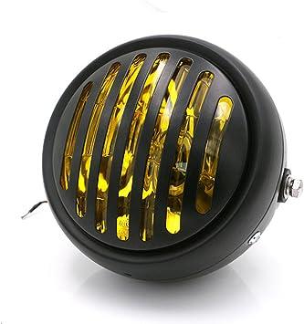 TASWK 6.5 Bullet Halogen Motorcycle Headlight w//Grille for Bobber Cafe Racer Cruiser Vintage Style Chrome