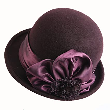 d638ab73aa3e17 Haluoo Womens Crushable Wool Felt Cloche Hat Fedora Panama Hat Winter  Bowler Hats Ladies Gatsby Church ...