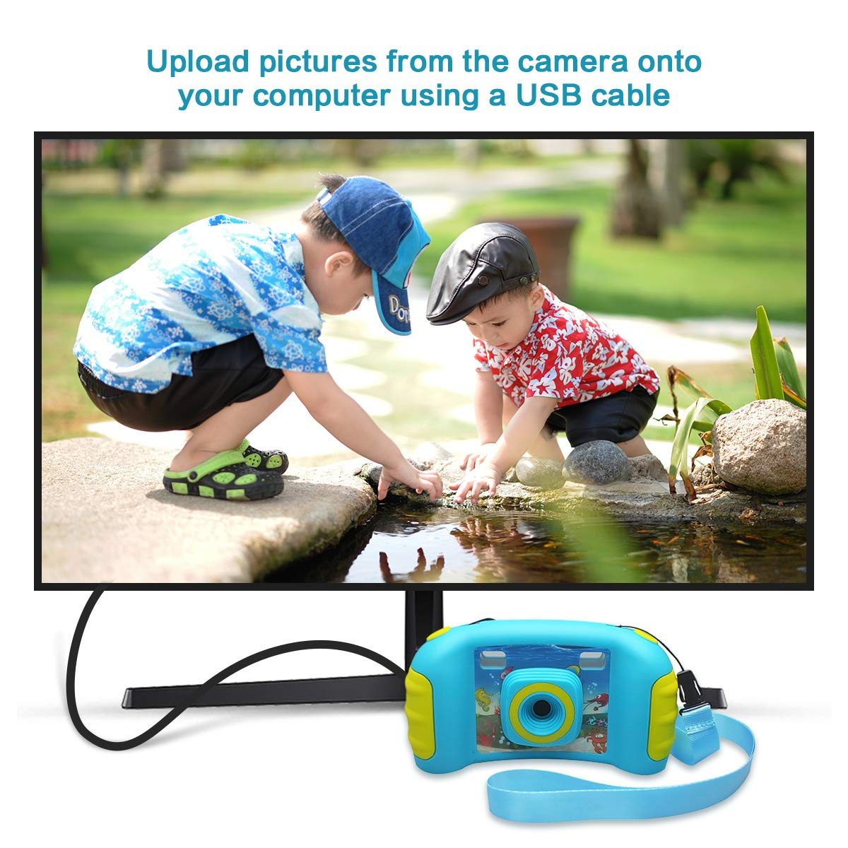 HankeRobotics Kids Digital Camera, with 8GB Micro SD Card, Kids Digital Photo/Video Camera with 4X Zoom, 1.7 Inch Screen Screen Action Camera Camcorder for Children Boys Girls Birthday Gift,Blue by HankeRobotics (Image #7)