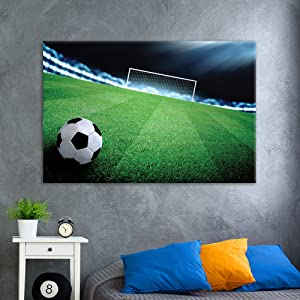wall26 - Canvas Wall Art Sports Theme - Soccer Towards to Gate on The Soccer Field - Giclee Print Gallery Wrap Modern Home Art Ready to Hang - 24x36 inches