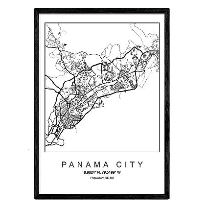 Imprimer Carte De La Ville De Panama City Style Scandinave En Noir Et Blanc Cadre Daffiche De Format A3 Papier Imprimé No 250 Gr Peintures