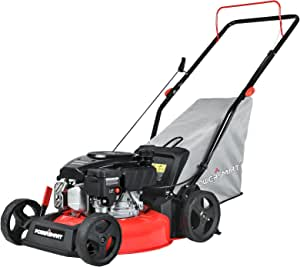 PowerSmart Push Lawn Mower Gas Powered - 17 Inch, 127CC 4-Stroke Engine, 5 Hight Positions Adjustable, 3 in 1 with Bag