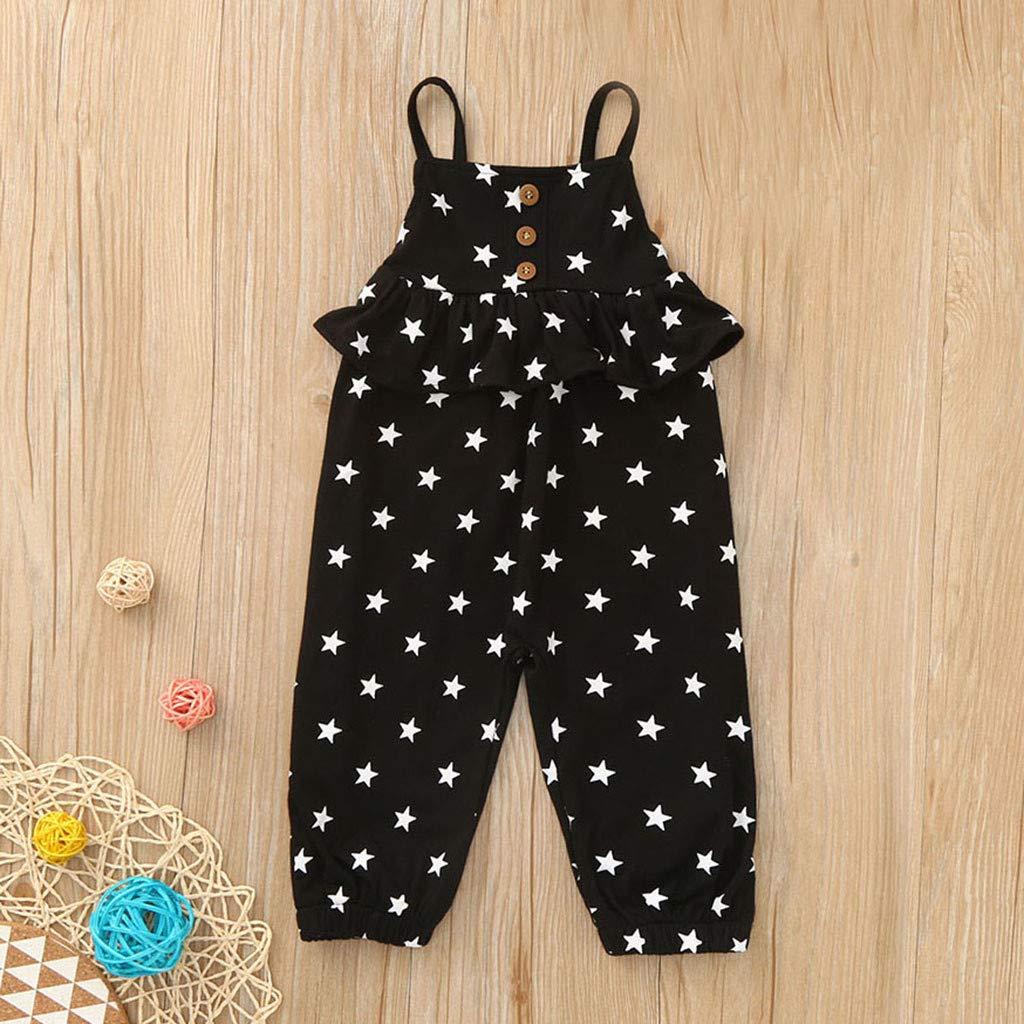 Greenwind Toddler Baby Girls Cute Fashion Sleeveless Stars Print Ruffles Backless Jumpsuit Romper
