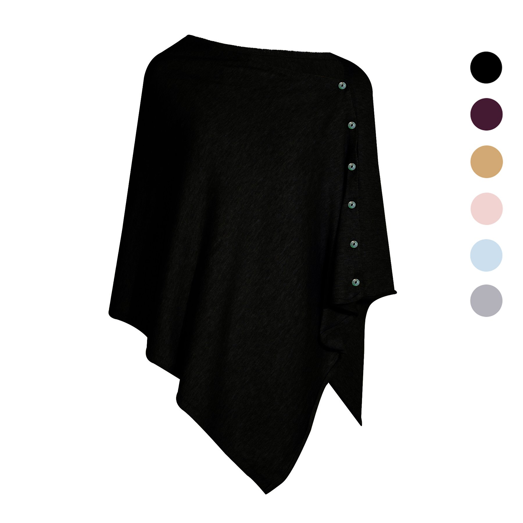 PULI Women's Versatile Knitted scarf with Buttons Shawl scarf Poncho Cape Cardigan, Black