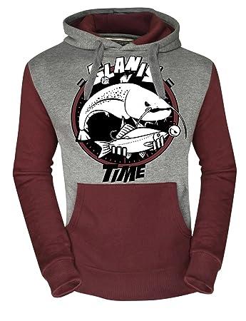Kapuzensweater grau weinrot Hotspot Design Sweater Fishing Time GLANIS