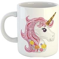 iKraft Beautiful Unicorn Head Printed Coffee Mug Tea Cup Best Birthday Gift for Unicorn Lover