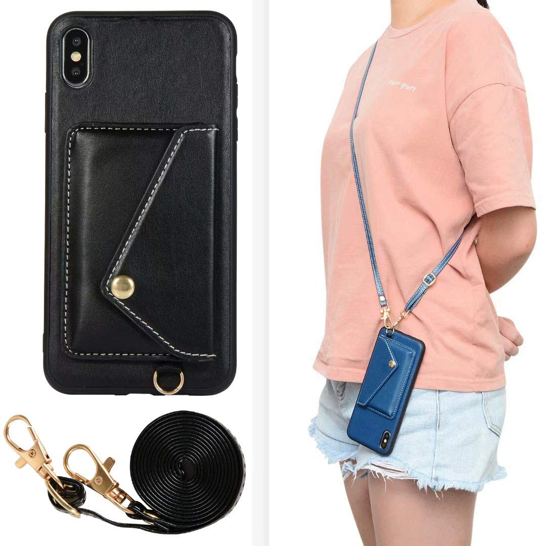 iPhone Xs Max Case, Ranyi Protective Leather Wallet Case with Crossbody Shoulder Belt Credit Card Holder Slot Premium PU Leather Wallet Purse Case Cover for Apple iPhone Xs Max 6.5'' (2018), Black by Ranyi