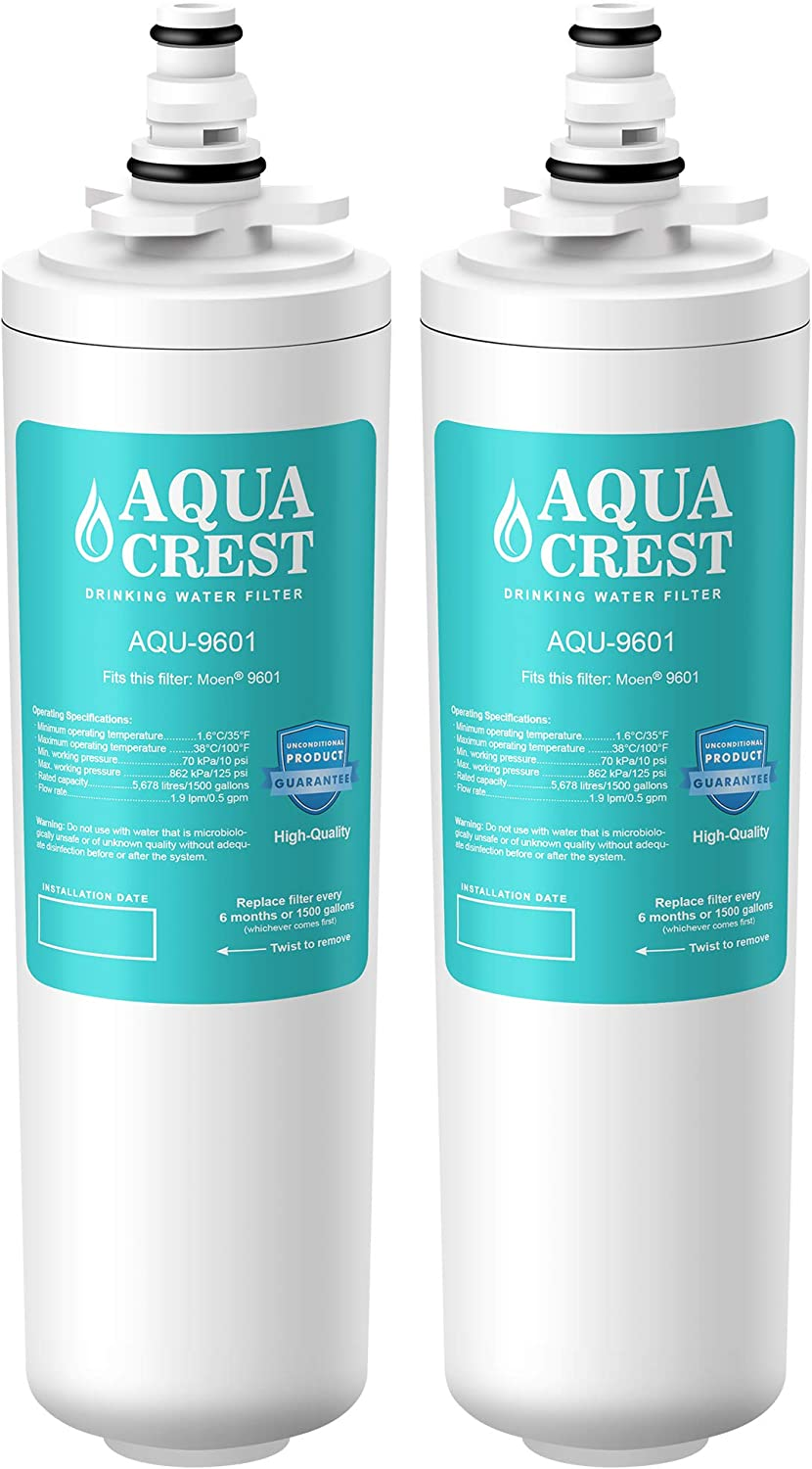AQUA CREST 9601 Water Filter, Compatible with Moen 9601 ChoiceFlo, 9600, Fits F87400, F7400, F87200, 77200, CAF87254, S5500 Series of Moen Faucets (Pack of 2)