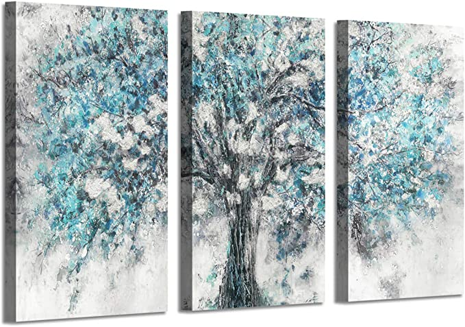Amazon Com Abstract Artwork Landscape Wall Art Blooming Lonely Beautiful Autumn Tree Prints On Wrapped Canvas Set Overall 60 W X 34 H Multi Sized Posters Prints