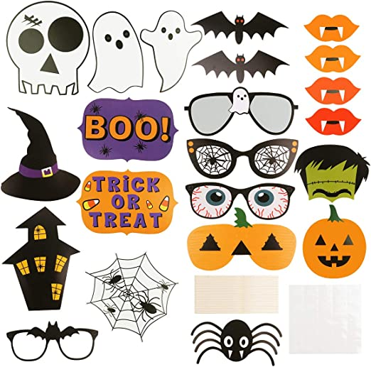 Trick or Treat Halloween Photo Booth Props x 10 Fun Halloween Party Decorations