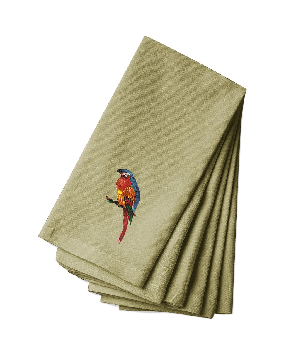 Style in Print Canvas Dinner Napkin Set Of 4 Varicolored Parrot Pets Animals By