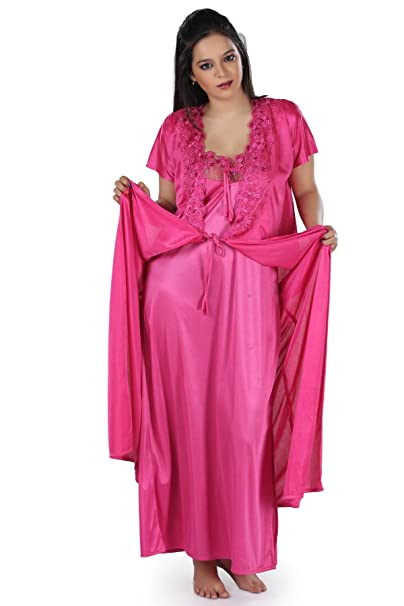 84ff558ef2 Active Elements Girls Polyester Satin 2 Piece Night Gown Set/Sleep Dress –  one Size fit to Most for Bust 34 to 38 inch. Design-LS_5050_2p-New:  Amazon.in: ...