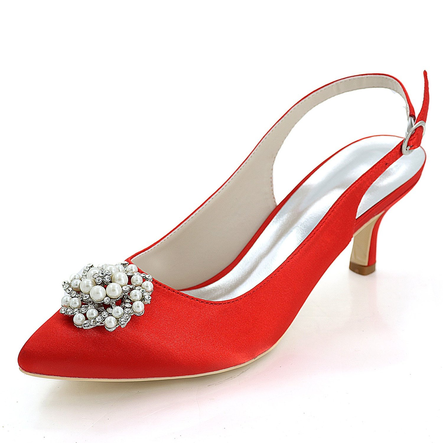 ace2d7da57e72 Elobaby Women's Wedding Shoes Handmade for Platform Ankle Strap Satin High  Heels Closed toe/6cm Heel: Amazon.co.uk: Shoes & Bags
