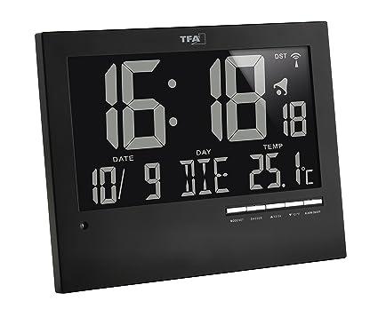 TFA Dostmann Digitale Funkuhr mit automatischer Hintergrundbeleuchtung, mit Innentemperatur, Datum, Wochentag, schwarz, 60.45